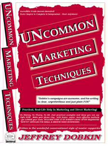 Uncommon Marketing Techniques Front Cover