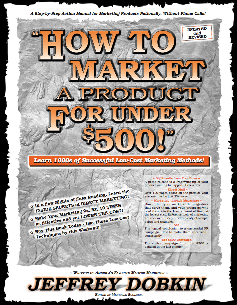 How To Market A Product for Under $500! Cult Classic Book by Jeffrey Dobkin